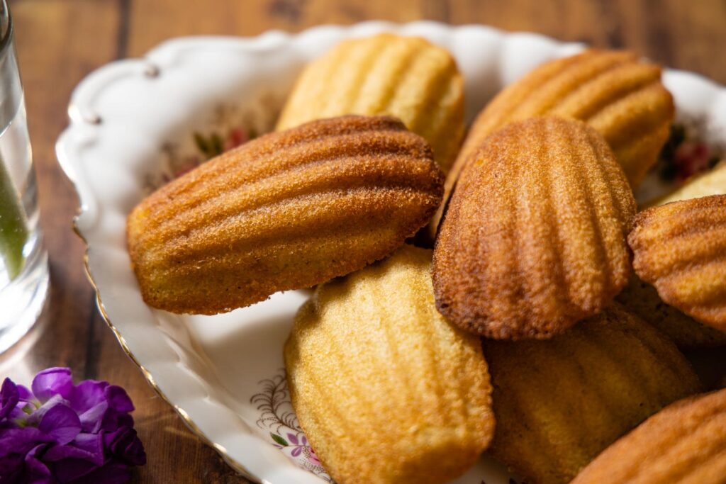 earl grey madeleines on a platter