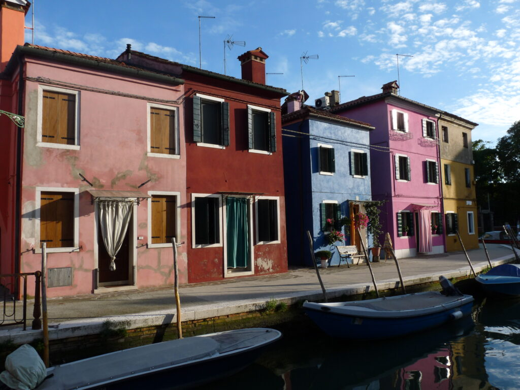 colorful houses on the island of Burano in Venice