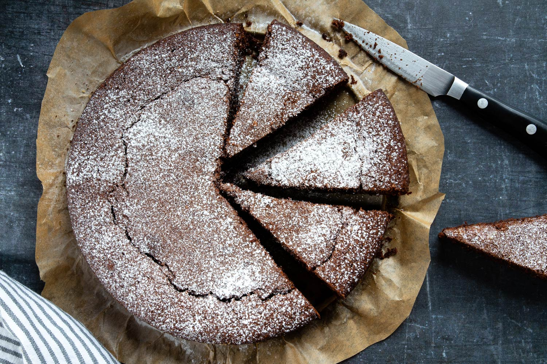 slices of torta caprese Italian almond and chocolate cake