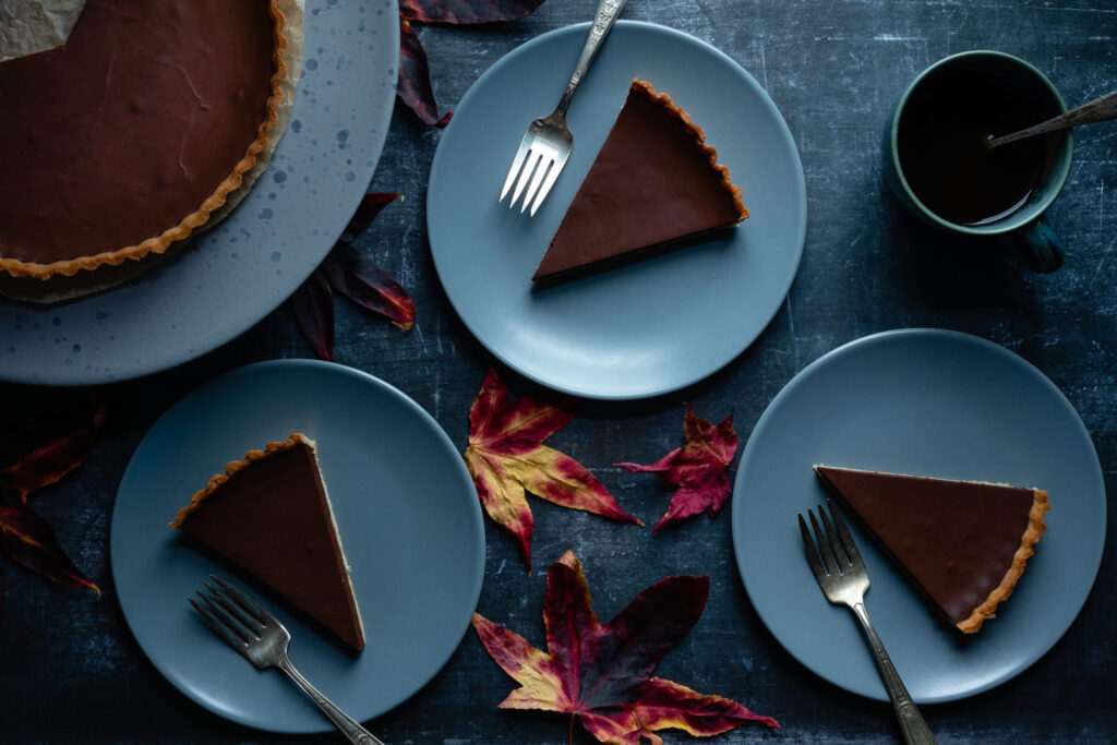 slices of french chocolate tart